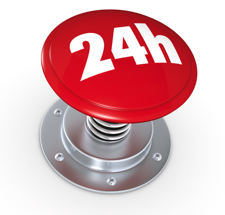 one push button with the text: 24h, concept of availability (3d render) photo