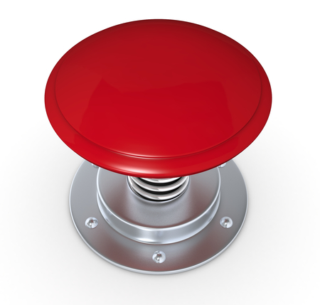 close button: close up of a red push button (3d render) Stock Photo