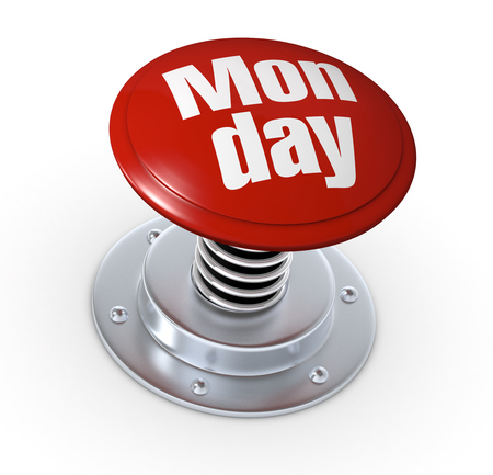 weekday: one push button with the text: monday (3d render)