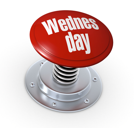 one push button with the text: wednesday (3d render) Stock Photo - 25079504