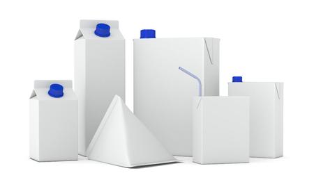 boite carton: ensemble de paquets de TETRAPACK dans diff�rentes formes (rendu 3D)