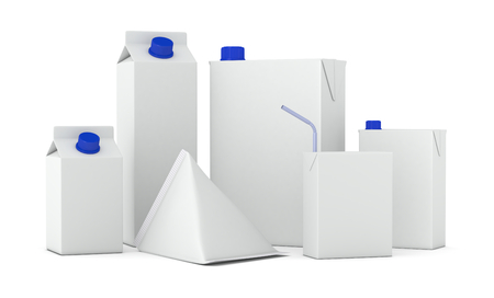 blue box: set of packages in different shapes (3d render)