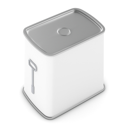 canned meat: one food tin for meat or fish with a white label (3d render)