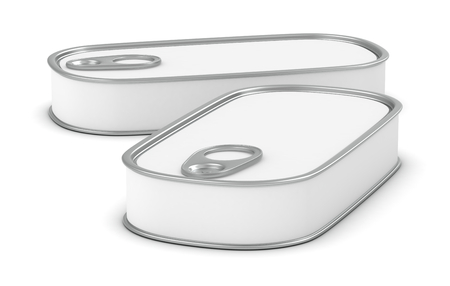 two food tins for meat or fish with a white label (3d render) photo