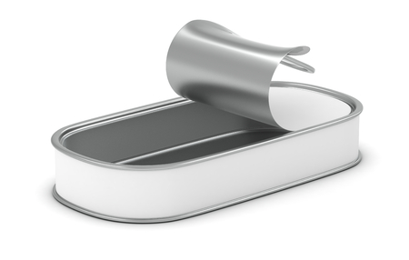 one open and empty food tin with a white label (3d render) photo