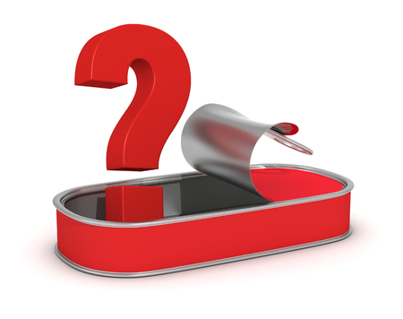 eating questions: one open food tin with a question mark, concept of doubt if the food is healthy (3d render)