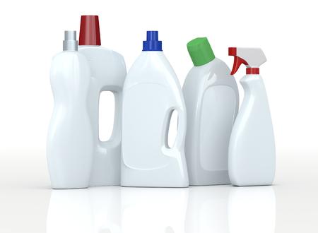bottle label: set of detergent bottles with empty labels  (3d render) Stock Photo