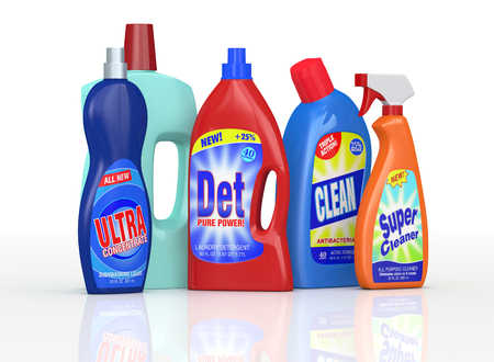 set of detergent bottles with labels. the labels are a my design and not a reproduction of commercial products (3d render) photo