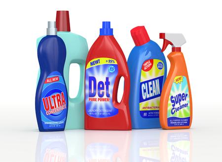 un conjunto de botellas de detergente con etiquetas. las etiquetas son una mi dise�o y no una reproducci�n de productos comerciales (3d) Foto de archivo - 25213358