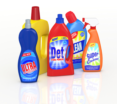 set of detergent bottles with labels. the labels are a my design and not a reproduction of commercial products (3d render) Stock Photo
