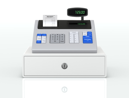 icon 3d: front view of a cash register with receipt (3d render)