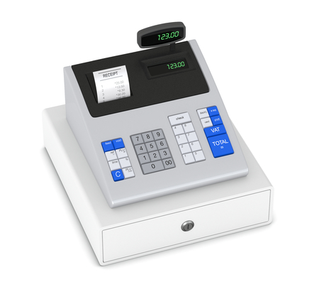 cash: top view of a cash register with receipt (3d render)