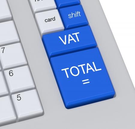vat: closeup of the keyboard of a cash register (3d render)