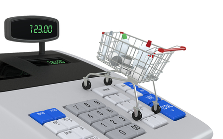 checkout button: one cash register with a shopping cart (3d render)