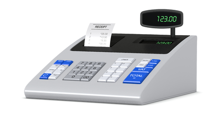 one cash register with a receipt (3d render) photo