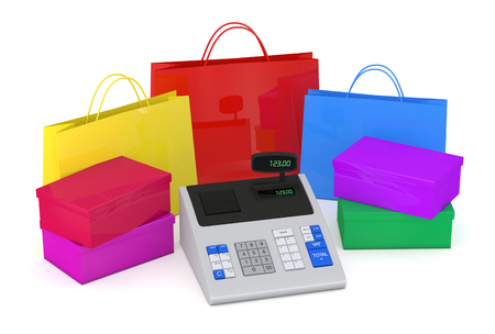 one cash register with shopping bags and boxes (3d render) photo