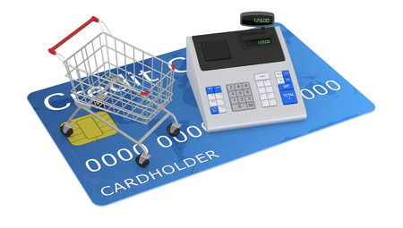 one cash register and a shopping cart over a credit card (3d render) photo