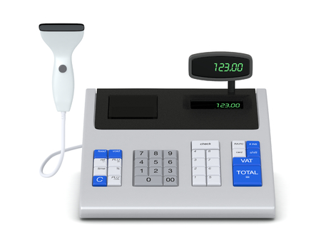 one cash register with a barcode reader (3d render) photo