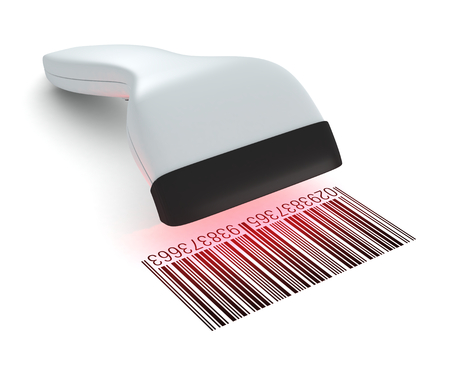 barcode scanning: closeup of a barcode reader that reads a bar code (3d render)