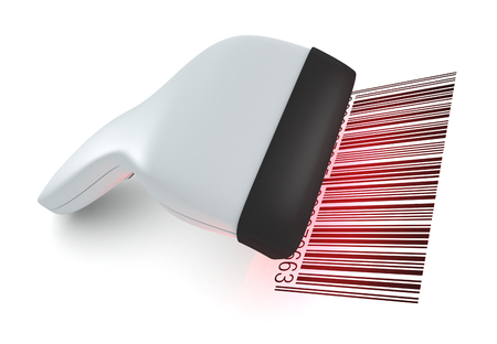 closeup of a barcode reader that reads a bar code (3d render) photo