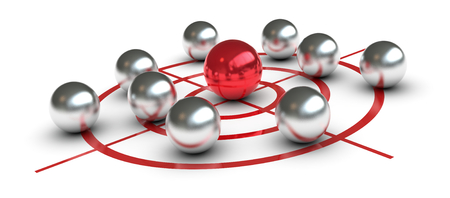 one target with some metal spheres. one of them is red colored and in the center, concept of challenge or leader (3d render)