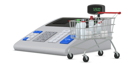 one cash register with a shopping cart (3d render) photo