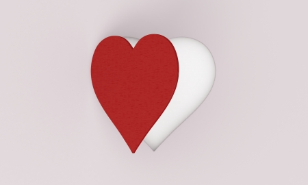 one stylized heart that opens as a window on a grey background (3d render) photo