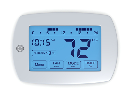 digital thermometer: closeup of a digital, programmable thermostat (3d render) Stock Photo
