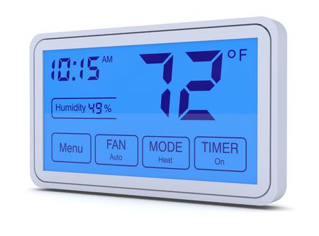 humidity: closeup of a digital, programmable thermostat (3d render) Stock Photo