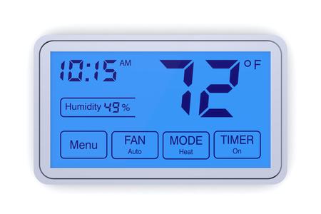 closeup of a digital, programmable thermostat (3d render) Banque d'images