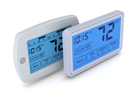 top view of two digital, programmable thermostats (3d render)