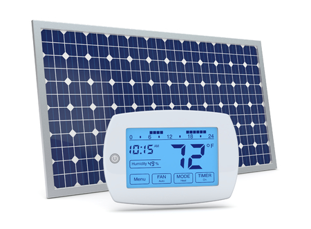 one digital programmable thermostat with a solar panel, concept of renewable energy (3d render) photo