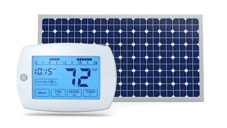thermostat: one digital programmable thermostat with a solar panel, concept of renewable energy (3d render)