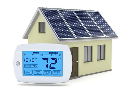家とソーラー パネル、再生可能エネルギーの概念の 1 つのデジタル プログラム可能なサーモスタット (3 d レンダリング) 写真素材