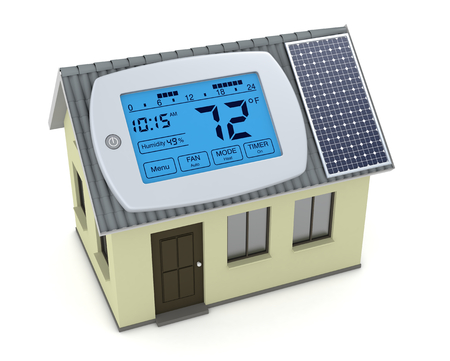 humidity: one digital programmable thermostat with a house and solar panel, concept of renewable energy (3d render)