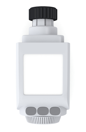 one digital radiator thermostatic valve with a blank display for further customization (3d render) photo