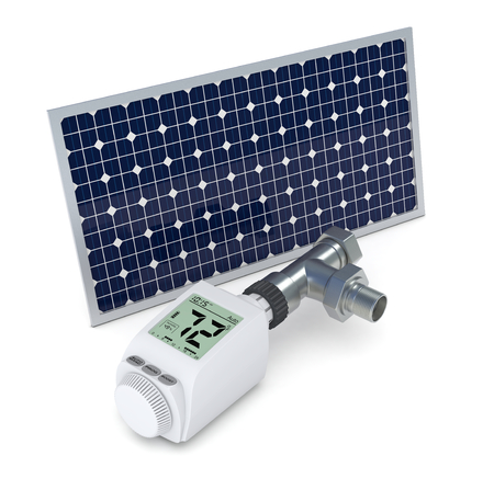 one digital thermostatic valve showing temperature in fahrenheit degrees, and a solar panel, concept of renewable energy (3d render) photo