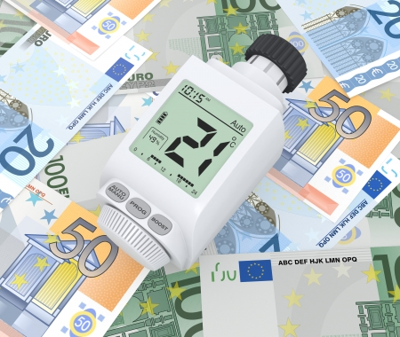 one digital thermostatic valve over euro banknotes (3d render) photo