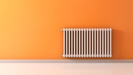 radiador: habitación soleada con un radiador en una pared de color naranja (3d)