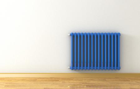 radiador: habitación soleada con un radiador azul sobre una pared gris (3d)