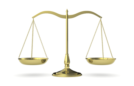 equal to: front view of a classic weight balance, symbol of justice