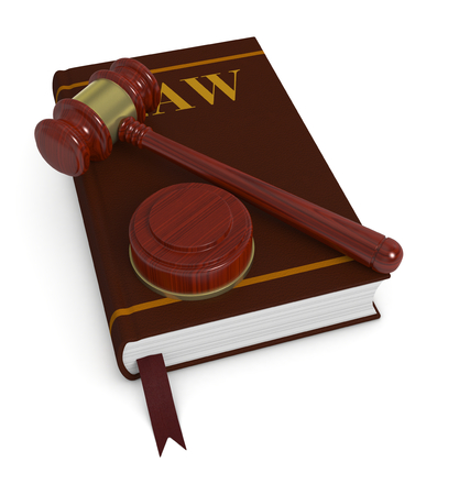 one gavel with a book, concept of law and justice  photo