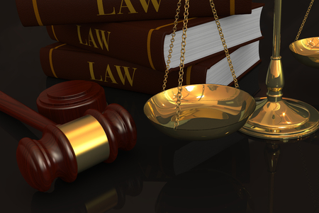 closeup of a weight balance with a gavel and a stack of books, concept of law and justice  photo