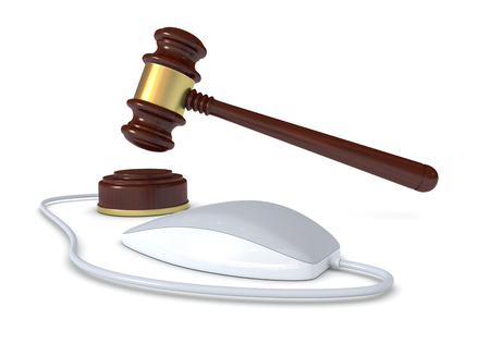 online auction: one gavel with a mouse, concept of online auction