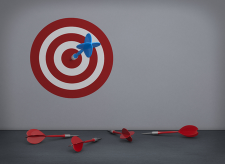 unsuccessful: one empty room with a target printed on the wall, a dart on the center and some other darts on the floor