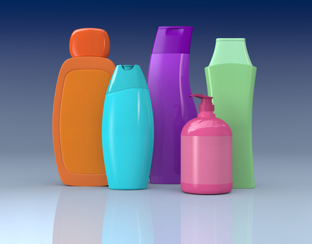 set of colored bottles of soap and shampoo  photo