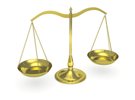 equal to: top view of a classic weight balance, symbol of justice