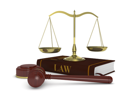 one gavel with a book and a weight balance, concept of law and justice (3d render) photo