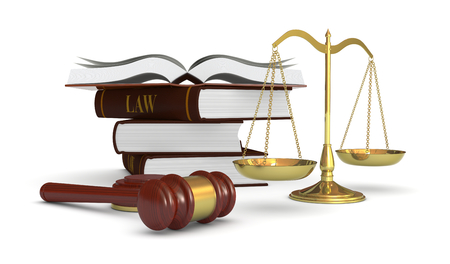 one weight balance with a gavel and a stack of books, concept of law and justice