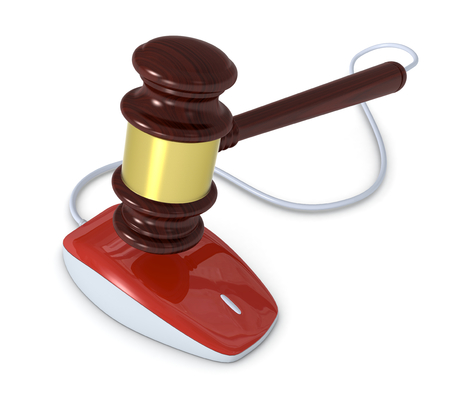 one gavel with a mouse, concept of online auction (3d render) photo